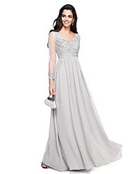 TS Couture Prom Formal Evening Dress - Sparkle & Shine A-line V-neck Floor-length Chiffon with Appliques Beading Ruching