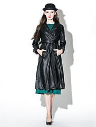 Women's Plus Size Sophisticated Fur Coat,Solid Shirt Collar Long Sleeve Winter Black PU Medium