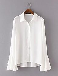 Женский На каждый день Рубашка Рубашечный воротник,Простое Однотонный Синий / Белый Длинный рукав,Хлопок