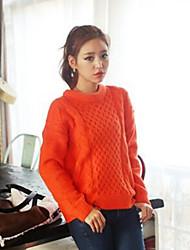 Damen Standard Pullover-Lässig/Alltäglich Einfach Solide Orange Rundhalsausschnitt Langarm Acryl Herbst Winter Mittel Mikro-elastisch