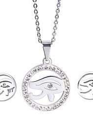 Kalen Cheap Jewelry Sets Stainless Steel Evil Eyes Silver Color Pendant Necklace And Earrings Sets For Kids Girls Women