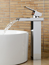 Contemporary Vessel Waterfall with Ceramic Valve Single Handle One Hole for Chrome  Bathroom Sink Faucet