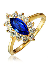 Gold Plating Engagement Ring for Women with Blue Zircon