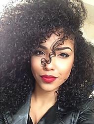 spirale crépus coiffure bouclée sombre couleur brune brazilian vierge de dentelle de cheveux devant perruque avec des cheveux de bébé