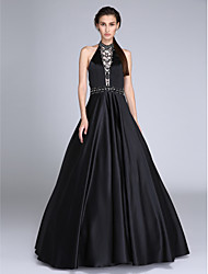 TS Couture Prom Dress - Beautiful Back Ball Gown Halter Floor-length Satin with Beading Sash / Ribbon