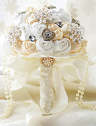 Cream With White Wedding Bouquet Bridal Silk Holder Flower Pretty Pearls Ornaments Bridal Bouquet With Ribbon