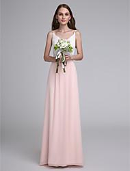 Sheath / Column Spaghetti Straps Floor Length Chiffon Bridesmaid Dress with Lace by LAN TING BRIDE®