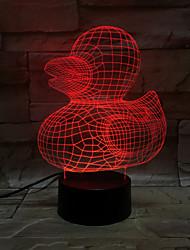 jaune canard 3d lumière colorée touche visuelle conduit ambiance lumineuse lampe de table illusion lumière