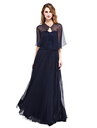 LAN TING BRIDE A-line Mother of the Bride Dress - Wrap Included Floor-length Sleeveless Chiffon Lace with Pleats