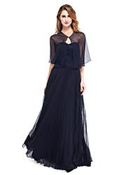 Lanting Bride® Linha A Vestido Para Mãe dos Noivos - Bolero Incluso Longo Sem Mangas Chiffon / Renda  -  Pregas