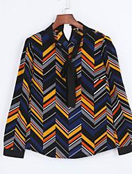 Women's Work Simple All Seasons Shirt,Geometric Bow Long Sleeve Multi-color Polyester Medium
