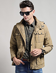 Men's Casual/Daily / Sports Simple / Active Jackets Solid Hooded Long Sleeve Winter Green / Khaki Cotton / Polyester Thick