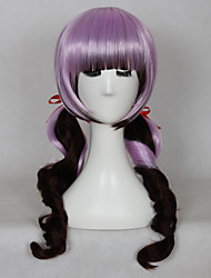 New Purple Color Mixed Brown Hair with Full Bang Lovely Daily Wearing Wig or Cosplay Wig Body Wave Synthetic Wig