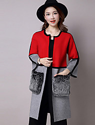 Women's Casual/Daily Simple Regular Cardigan,Color Block Pink / Red / Green V Neck Long Sleeve Acrylic Fall / Winter Medium Micro-elastic