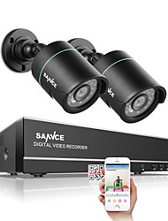 SANNCE® 1.0MP 720P 4CH HD 4 in1 TVI H.264 DVR In/Outdoor 2 PCS CCTV Security Camera System