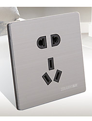 deux paquets vendre en acier inoxydable tréfilage cinq trous interrupteur du panneau