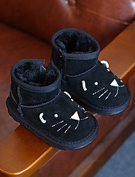 Boys' Boots Comfort Snow Boots Cowhide Winter Casual Comfort Snow Boots Zipper Flat Heel Black Gray Camel Flat