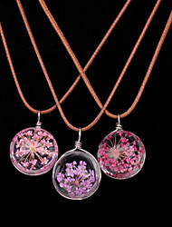 Women New Fashion Flowers Glass Ball Necklace Leather Chain Dried Flowers Pendant Necklaces 1pc
