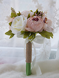 Retrol Rope Handle Bridesmaids Rose Flowers Round Bouquets Flower Girl Hand Holding Floral (More Colors)