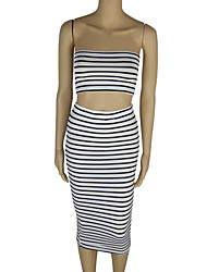 Women's Casual/Daily / Club Sexy Bodycon / Sheath Dress,Striped Strapless Midi Sleeveless White Polyester Fall Low Rise Stretchy Medium