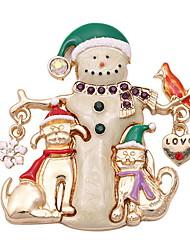 gota de esmalte esmalte santa snowman Noel diamante incrustado de neve pêssego cor broche multicolorida