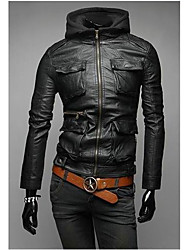 Men's Casual/Daily Simple Leather Jackets,Solid Hooded Long Sleeve Spring / Fall Black / Brown Cowhide Medium