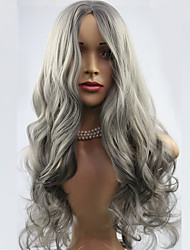 Fashion Grey Wig Synthetic Hair Woman's Long Wavy Animated Wigs European Wigs Party Wig