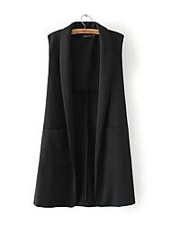 Women's Going out Casual/Daily Vintage Simple Long Vest,Solid Black Gray Shirt Collar Sleeveless Polyester Fall Medium Micro-elastic