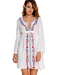 Women's Bandeau Cover-Up,Floral Polyester White