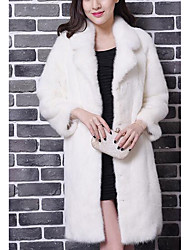 Women's Going out Sexy Fur Coat,Solid V Neck Long Sleeve Winter White Faux Fur Thick