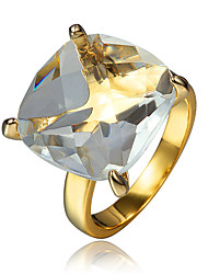 18K Gold Plated Statement Ring with Big Stone