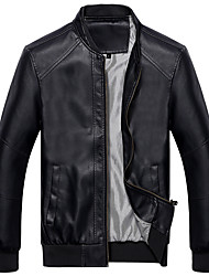 Men's Going out Vintage Leather Jackets,Solid Stand Long Sleeve All Seasons Black PU Medium