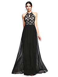 2017 TS Couture® Formal Evening Dress - Elegant A-line Halter Floor-length Chiffon / Lace with Lace