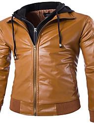 Masculino Jaquetas de Couro Casual Simples Primavera / Outono,Sólido Preto / Marrom Algodão / Pele Colarinho Chinês-Manga Longa Média