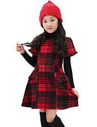 Girl's Casual/Daily Plaid Dress,Cotton Spring / Fall Short Sleeve