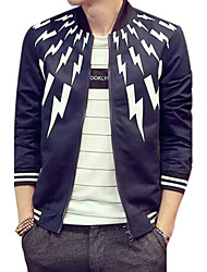 Men's Casual/Daily Simple Jackets,Striped Stand Long Sleeve Fall Blue Cotton Thin
