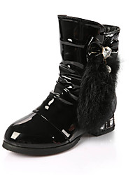 Girls' Boots Comfort Snow Boots Cowhide Winter Casual Comfort Snow Boots Bowknot Zipper White Black Blushing Pink Flat