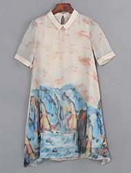 la impresión de la vendimia de las mujeres más el tamaño / un vestido de línea, cuello de la camisa por encima de la rodilla de poliéster