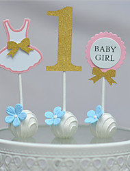 1 Year Old Baby Girl Birthday Cake Top (Set Of 3)