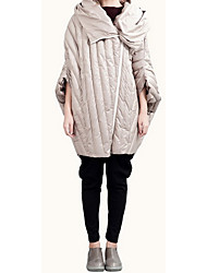 Women's Long Down Coat,Simple / Active Going out / Casual/Daily Solid-Polyester White Duck Down Long Sleeve Hooded Beige