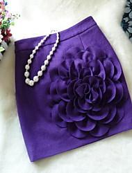 Damen Röcke,Bodycon einfarbigLässig/Alltäglich Mittlere Hüfthöhe Mini Reisverschluss / Elastizität Polyester / Wolle Micro-elastisch