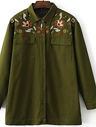 Women's Going out / Casual/Daily Vintage / Chinoiserie Jackets,Floral Shirt Collar Long Sleeve All Seasons Green Cotton Medium