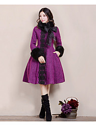 Women's Going out / Casual/Daily Sophisticated Coat,Floral Stand Long Sleeve Fall / Winter Purple Wool Thick