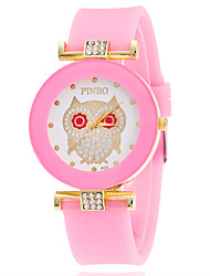 Women And Mens Casual Wrist Watches Quartz Watch With Silicone Band Rhinestone Owl Dial Top Brand Watch Ladies