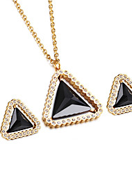 Kalen® New Fashion Stainless Steel&Colorful Glass Female Jewelry Sets 18K Gold Plated Triangle Pendant