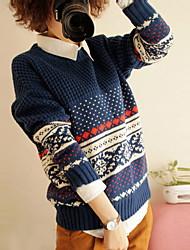 Damen Standard Pullover-Lässig/Alltäglich Niedlich Einfarbig Blau Beige Rundhalsausschnitt Langarm Wolle Acryl Frühling Herbst Mittel