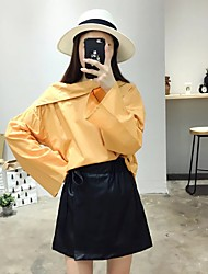 Women's Going out / Casual/Daily Simple / Street chic Fall / Winter Shirt,Solid Boat Neck Long Sleeve Yellow Cotton Medium