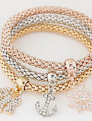 Women Fashion Simple Rhinestones Anchor Small Elephant Charm Bracelet Gift