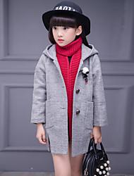 Girl  Wild Cartoon Thickness Woolen Coat Winter Long Sleeve with Hat Split Coat