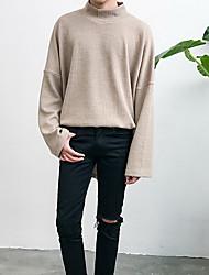 Herren Standard Pullover-Ausgehen Lässig/Alltäglich Retro Einfach Street Schick Solide Braun Rollkragen Langarm Kunst-Pelz Baumwolle